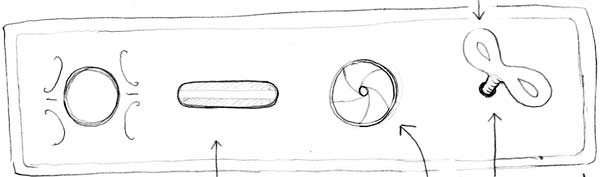 Hand-drawn sketch of a device with a button, a slot, an aperture and a key