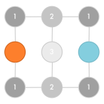 Square matrix of nine connected nodes