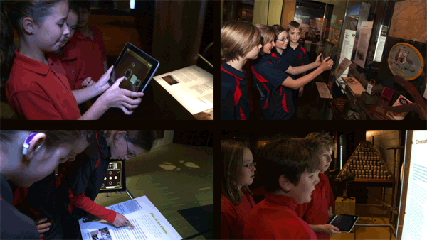 School children playtesting Sembl Museum in the galleries