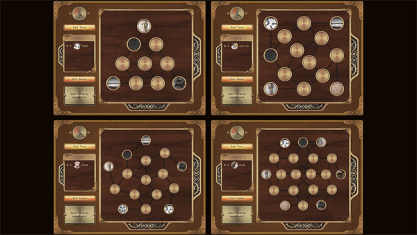 Four different Sembl Museum gameboards