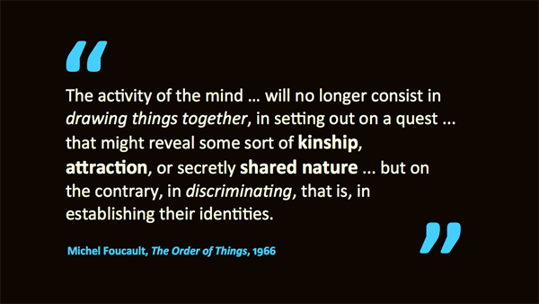Prior to the 17th century, the primary order of knowledge was resemblance – quotation of Michel Foucault