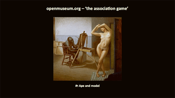 painting of an ape sitting at an easel painting a nude woman