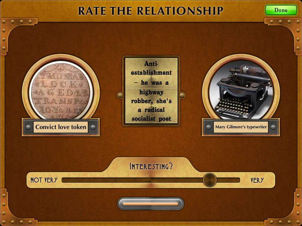 Screenshot of The Museum Game sliding scale of interestingness. A convict love token is connected to Mary Gilmore's typewriter with the resemblance 'anti-establishment: he's a highway robber; she's a radical socialist poet