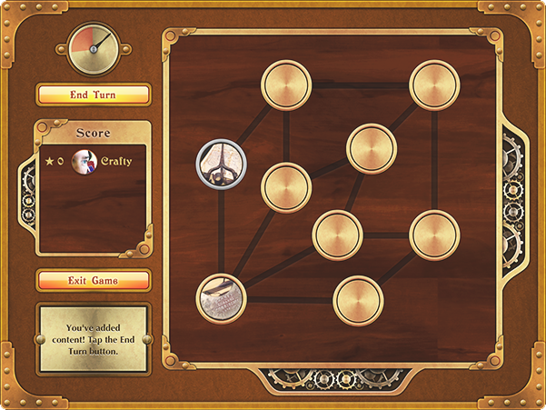 Screenshot of a game showing timer, leaderboard and gameboard of connected nodes, two of which have images in them.