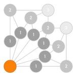 Gameboard for six teams, starting from a single node, opening out to six, then reducing to two nodes.