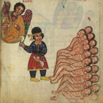 Manuscript depicting a mass slaughter while an angel looks on
