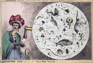 A woman stands aghast holding a seeing instrument that displays a circle full of small monsters.