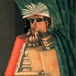 Painting of a librarian where each feature is composed of books and other material related to the librarian's profession.