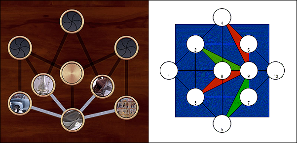 Lotus board, from the Museum Game, and WaterBird board, the standard HipBone game board