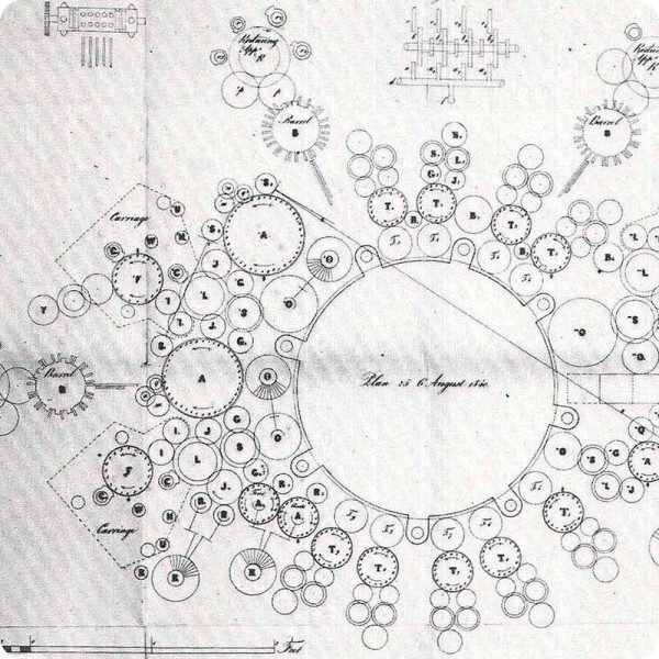 Detail of Charles Babbage's drawing of his analytical engine