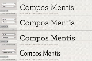 Preview of fonts Archer and Verlag Condensed by Hoefler & Frere-Jones