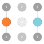 Square matrix of nine connected nodes
