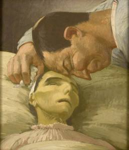 Oil painting showing the head and shoulders of an emaciated woman. and a man leaning over with his forehead on hers