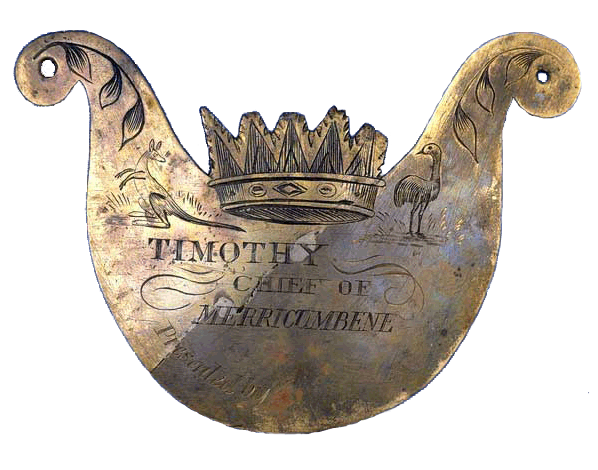"Metal breastplate inscribed with the words ""Timothy, Chief of Merricumbene"""
